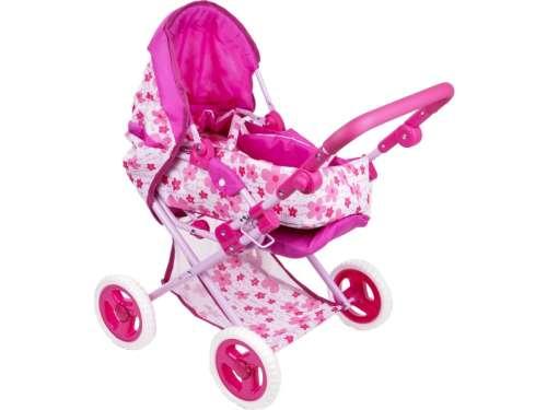 Játék babakocsi mózeskosárral és táskával - Virág #rózsaszín