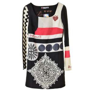 Desigual fekete, fehér, hosszú ujjú női ruha – 36 31067970 Női ruha