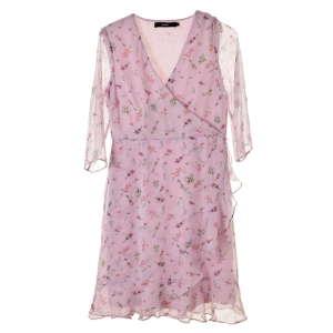 Vero Moda rózsaszín, virágos, átlapolt női ruha – M 31067922 Női ruha