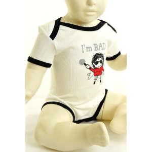 """Fiú  rövid ujjú Body  - """"I'm bad"""" felirattal #bézs-fekete 31064781 Body"""