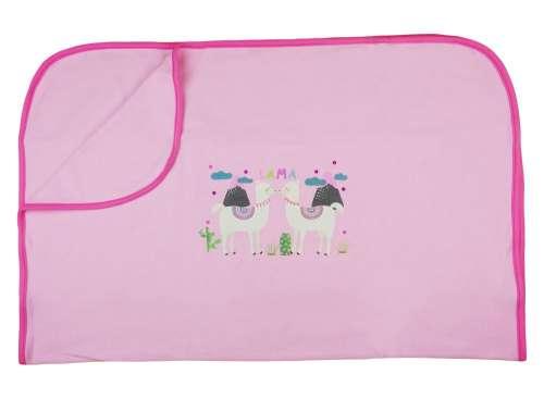 Rózsaszín, pamut babatakaró Láma mintával 70x90 cm