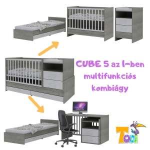 Todi Cube  5in1-ben multifunkciós Kombiágy #szürke-fehér 30800740 Kiságy, bölcső