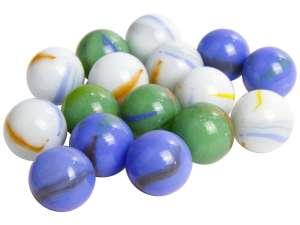 Üveggolyó 50 darabos - 16 mm, kék-zöld-fehér 31044382 Üveggolyó
