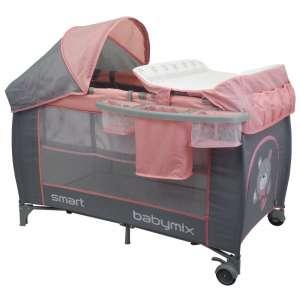 Baby Mix Smart Plus Utazóágy - Maci #rózsaszín-szürke 30987856 Utazóágy
