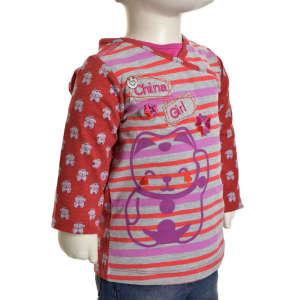 Hosszú ujjú póló - Cica #piros-szürke 31065970 Gyerek hosszú ujjú póló