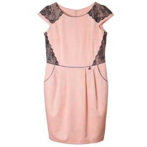 Botega Elena rózsaszín, fekete csipkés női ruha – 40 31070417 Női ruha