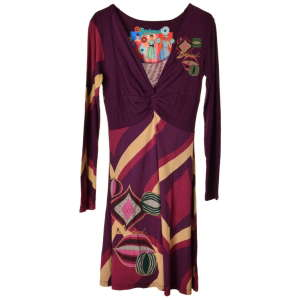 Desigual lila, pamut, hosszú ujjú női ruha – M 31070387 Női ruha