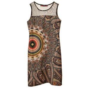 Desigual barna, mintás, ujjatlan női ruha – S 31070899 Női ruha