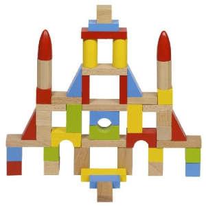50 db fa építőkocka 31003296 Fa építőjáték