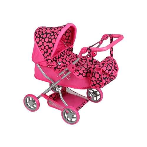 Játék babakocsi táskával - Pöttyös #rózsaszín