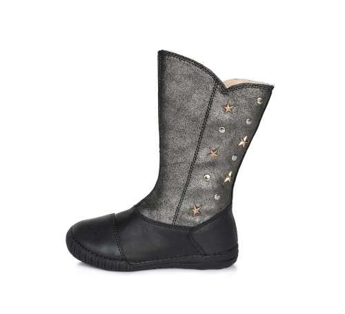 D.D.STEP fekete ezüst bélelt oldalt cipzáras lány csizma 31-36 31171995