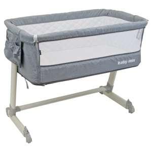 Baby Mix 2in1 szülői ágyhoz csatlakoztatható Kiságy fém vázzal #szürke 31191985 Kiságy, bölcső