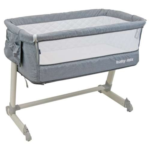 Baby Mix 2in1 szülői ágyhoz csatlakoztatható Kiságy fém vázzal #szürke