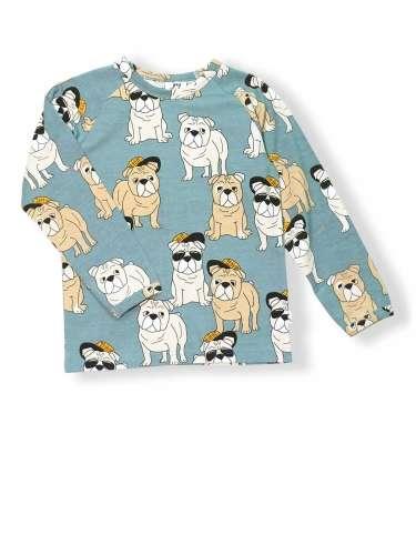 JNY organikus pamut hosszú ujjú kisfiú póló - bulldog