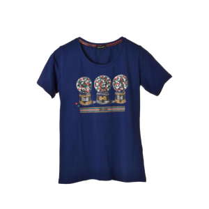 Armonie sötétkék, hógömbös, strasszöves női póló – M 31204067 Női póló