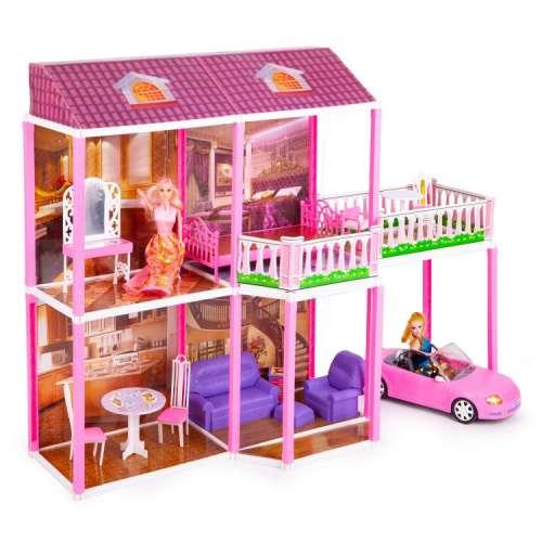 Ecotoys XXL 2 szintes Babaház bútorokkal, Barbi babákkal és autóval 31212555