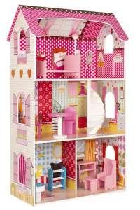 Ecotoys Rosemary 3 szintes Babaház bútorokkal Barbi babához