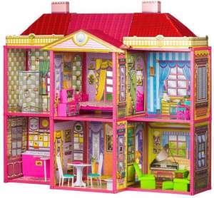 Ecotoys Villa 2 szintes Babaház bútorokkal Barbi babához 31212613 Babaház, vár, farm