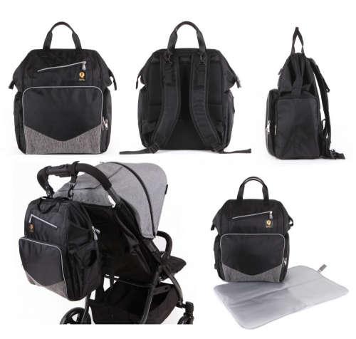 Qplay Carrie pelenkázó hátizsák - fekete