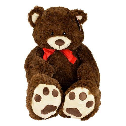 Bruno sötétbarna, nyakkendős maci plüss – 100 cm