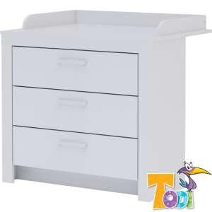 Todi White Bunny 3 fiókos komód + pelenkázó toldalék 3 fiókos komódhoz - erezett fehér /magasfényű fehér 31230486 Pelenkázó keret