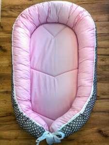 BabyLion kifordítható Babafészek XL - Pöttyös #rózsaszín - szürke 31262997 Babafészek