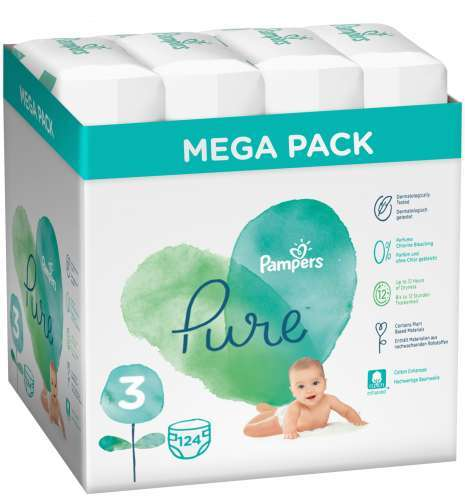 Pampers Pure Protection Kartonos Pelenkacsomag 6-10kg Midi 3 (124db)