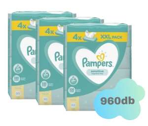 Pampers Sensitive XXL Törlőkendő 12x80db