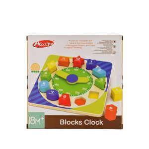 Színes, fa készségfejlesztő óra játék 31283136 Fejlesztő játék ovisoknak