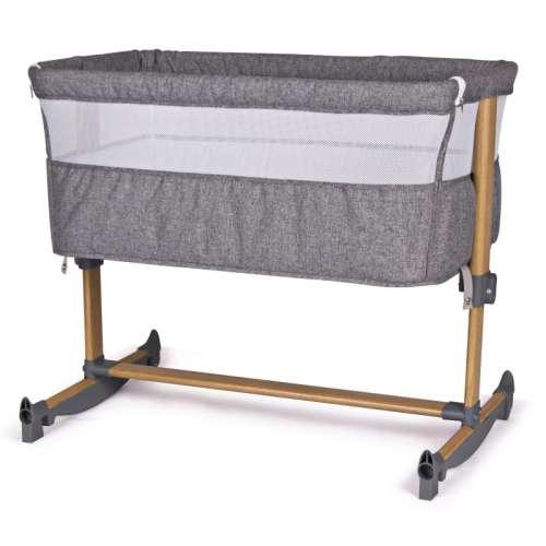 Baby Mix 2in1 szülői ágyhoz csatlakoztatható ringatható kiságy #szürke