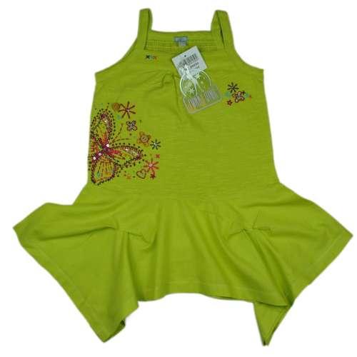 Pántos ruha, zöld, hímzett pillangó, Funky Diva, 2 db felvarrt gomb