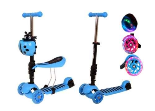 Edi 2in1 háromkerekű világító Roller - Katica #kék