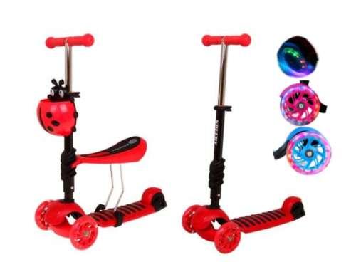 Edi 2in1 háromkerekű világító Roller - Katica #piros 31433828
