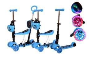Edi 3in1 háromkerekű világító Roller szülőkarral - Katica #kék 31433797 Roller és gördeszka