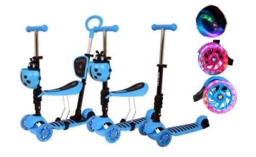 Edi 3in1 háromkerekű világító Roller szülőkarral - Katica #kék