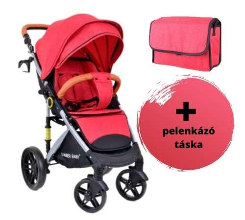Summer Baby Sempre sport Babakocsi + pelenkázó táska #piros