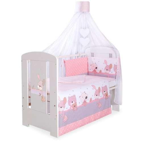 BabyLion Prémium 5 részes Ágynemű szett - Macik #rózsaszín