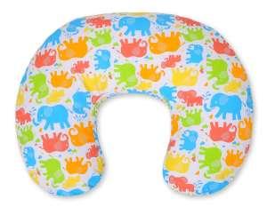 BabyLion Prémium etető Párna - Színes elefántok #narancssárga-kék-zöld