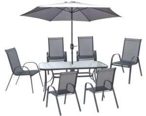 Jumi Fiesta fémvázas Kerti bútor garnitúra napernyővel – 6 személyes 31364410 Kerti bútor