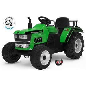 Baby Mix Elektromos traktor távirányítóval + füsteffekt 12V #zöld