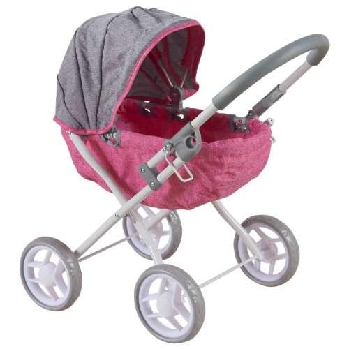 Baby Mix 4 kerekű Játék babakocsi #rózsaszín-szürke