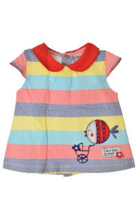 Boboli színes hullámcsíkos bébi lány ruha – 56 31380894 Kislány ruha