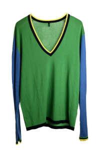 Benetton zöld férfi v-nyakú pulóver 31381499 Férfi pulóver