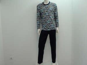 Sanetta fiú pizsama szürke, fekete 31381912 Gyerek pizsama, hálóing