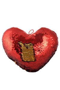 Flitteres, színváltós plüss szív párna – 25 cm, piros 31384451 Játékok