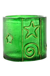 Zöld, műanyag mécsestartó aranyszínű díszítéssel – 6 cm 31384657 Lakásdekoráció