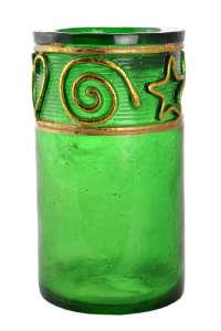 Zöld, műanyag mécsestartó aranyszínű díszítéssel – 11 cm 31384658 Lakásdekoráció