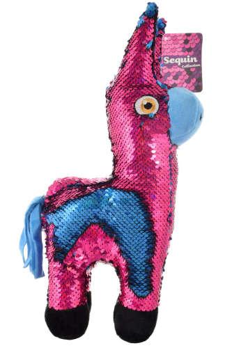 Színváltó flitter borítású láma plüss – 35 cm, pink