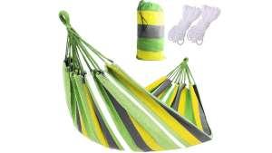 BlueGarden kétszemélyes Függőágy + ajándék tárolózsák #zöld-sárga