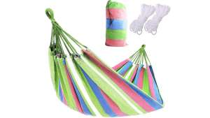 BlueGarden kétszemélyes Függőágy + ajándék tárolózsák #rózsaszín-zöld